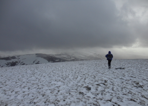 Leaving the summit of Meall Chuaich in March